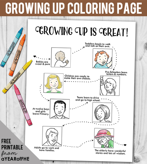 I love this FREE coloring page showing the great milestones that come in each stage of growing up!