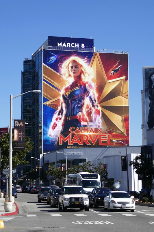 Giant Brie Larson Captain Marvel billboard Sunset Strip
