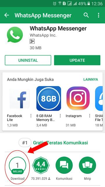 whatsapp sudah mencapai 1 milyar kali download