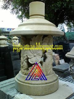 LAMPION BATU ALAM MOTIF BUNGA SEPATU