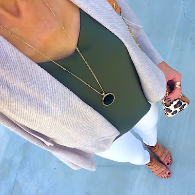 Express Olive Barcelona Cami, Neutral Cardigan, Tory Burch Leopard Crossbody