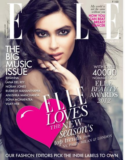 Diana Penty Featured On The Cover Of Elle India [October 2012]