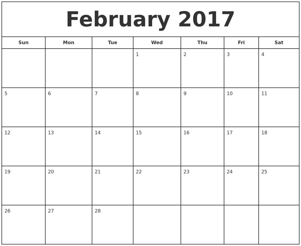 Free Printable Calendar: Free Printable Calendar February