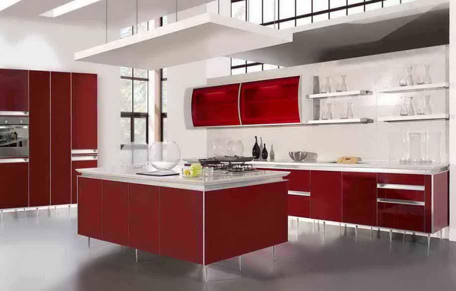 Memasak Jadi Menyenangkan Dengan Desain Dapur Warna Merah