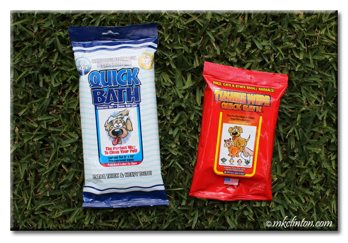 Quick Bath and Tushee Wipes packages on grass
