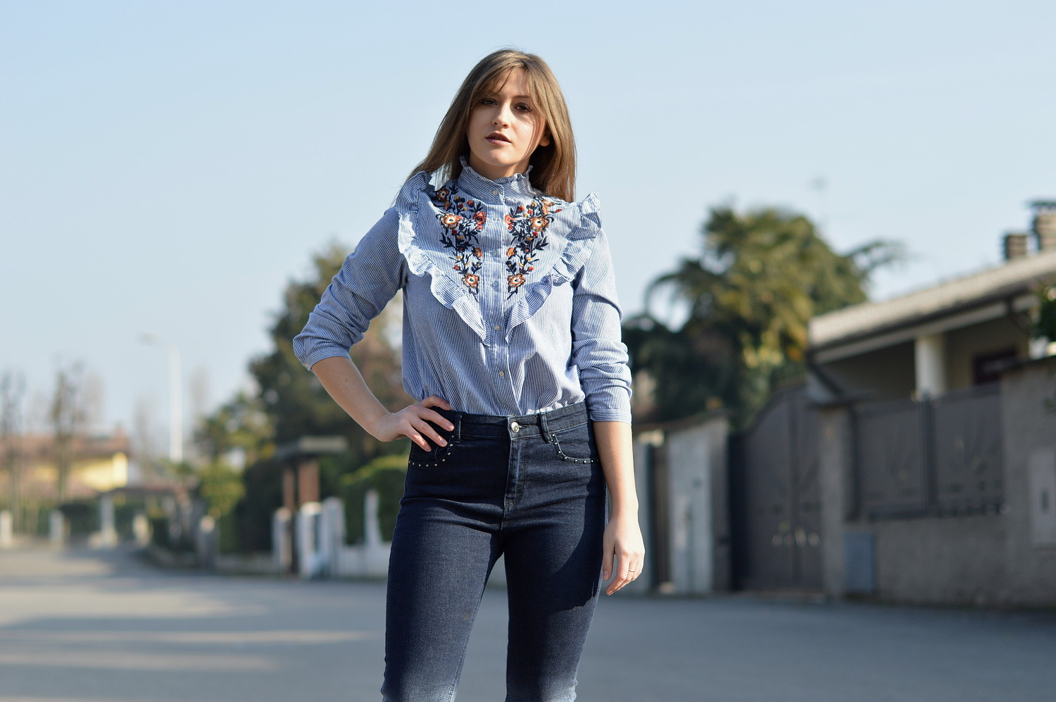 LOOK OF THE DAY ruffle blouse u0026 high waisted jeans. - The Dress Sense
