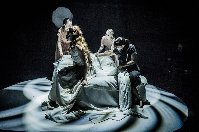 Britten: The Rape of Lucretia - front, Bethan Langford (Lucretia), Natasha Jouhl (Female Chorus) - back,  Katherine Taylor-Jones (Bianca), Claire Swale (Lucia) - Grimeborn Festival (Photo Robert Workman)