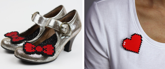 Janine Basil, superheros wedding shoes, brooches