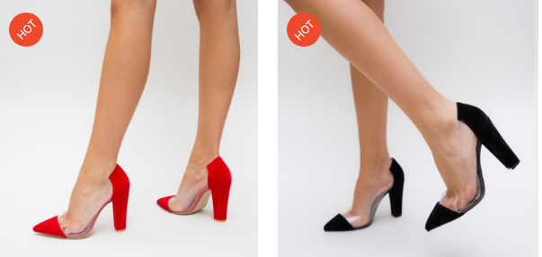 Pantofi cu silicon transparent eleganti rosii, negri de ocazii