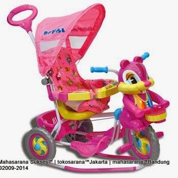 Sepeda Roda Tiga Royal RY7788CJ Baby Joy Tupai dengan Canopy  dan Jok Kain