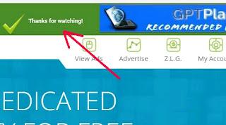 Verifikasi view ads berhasil
