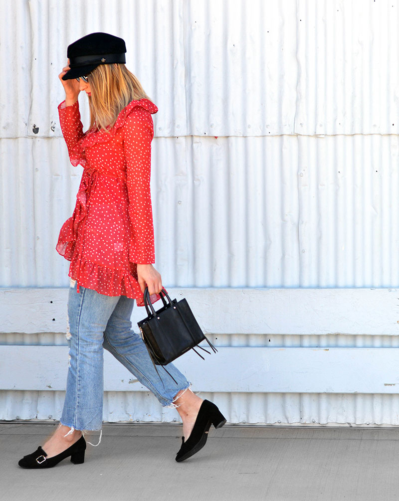 blogger outfit red star print wrap blouse with ruffles and baker boy hat cairns fashion blogger