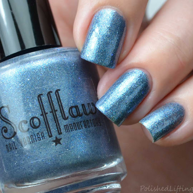gray nail polish with blue sparkle