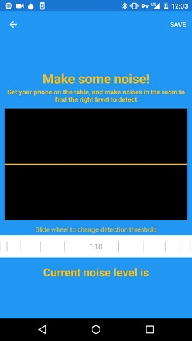 haven app in a phone testing out noise detections