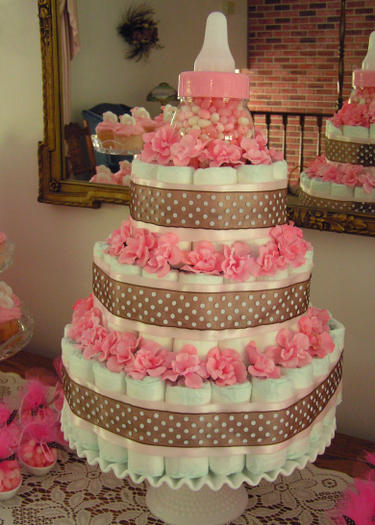 diaper cake in pink and white