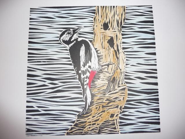 Inky Fingers Woodpecker Lino Cut