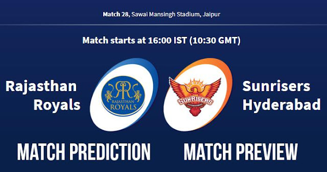 IPL 2018 Match 28 RR vs SRH Match Prediction, Preview and Head to Head Who Will Win