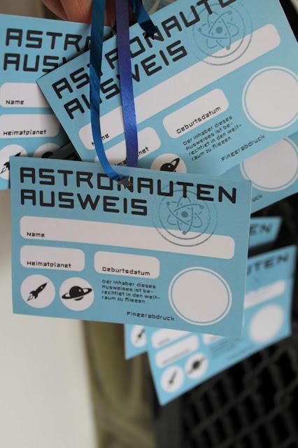 Astronautenausweis Kindergeburtstag Jules kleines Freudenhaus