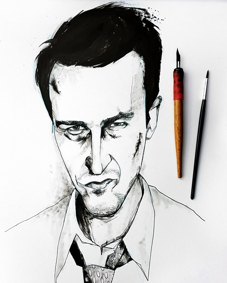 Edward Norton Fight Club drawing