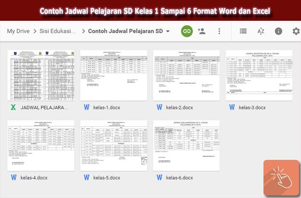 Contoh Jadwal Pelajaran SD Kelas 1 Sampai 6 Format Word dan Excel