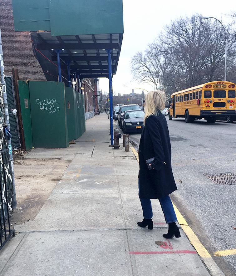 Zady wool coat, Free People boots, Monki jeans, Miu Miu wallet, Ray-Ban sunglasses