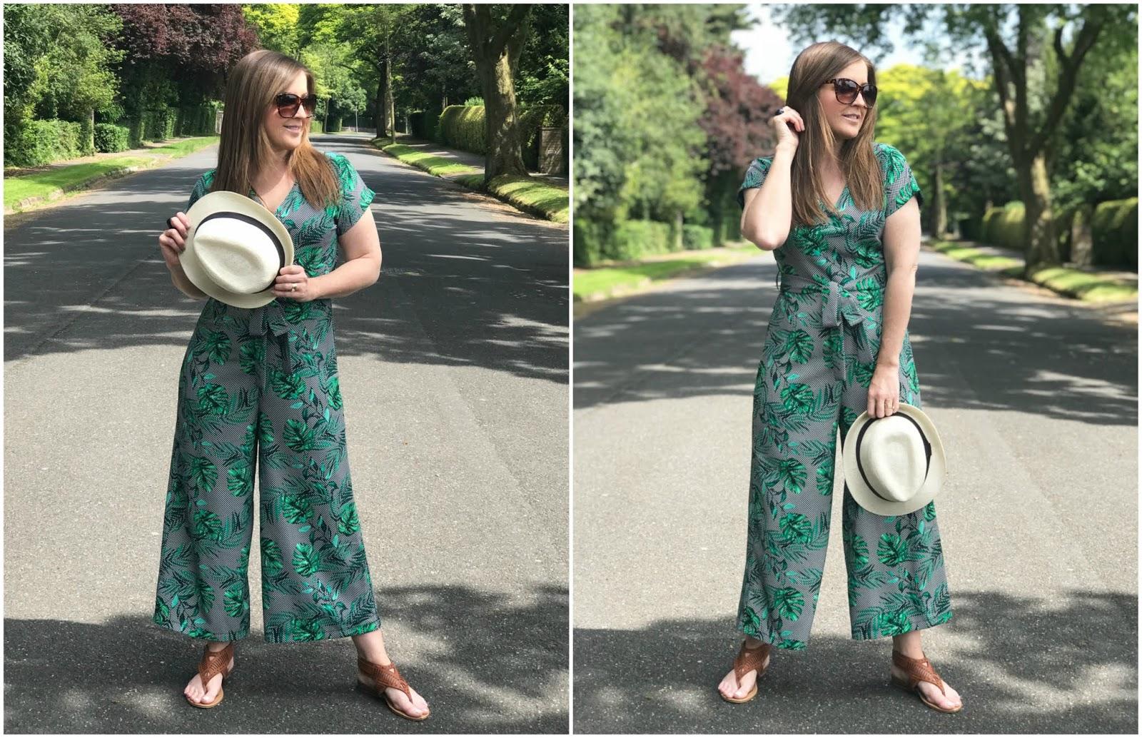 Primark green palm leaf jumpsuit \ tie belt \ three quarter length \ brown sandals