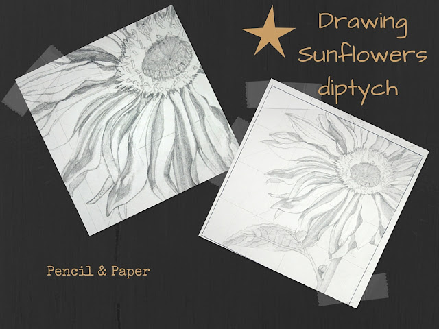 "Sunflower Diptych TOP drawing for 12"" x 12"" canvas"