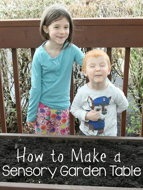 Directions on how to make a sensory salad garden table for kids! These make fantastic pretend play all summer long. Fairy garden, dinosaur garden, train table, the possibilities are endless!