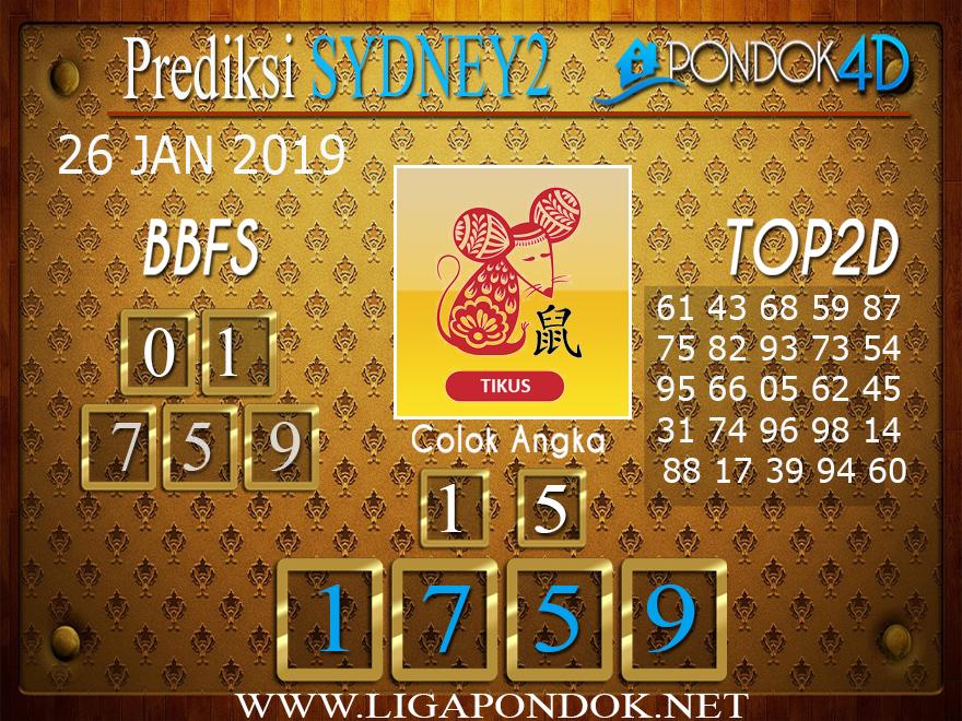 Prediksi Togel SYDNEY2 PONDOK4D 26 JANUARI 2019