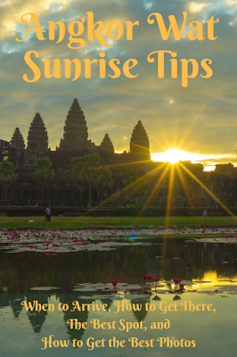 Travel the World: Angkor Wat sunrise tips including what time to go, how to get there,the best spot, and tips for taking photos.