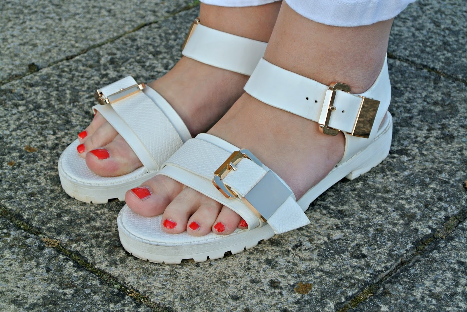 River Island White Cleated Soul Sandals Gold Buckles