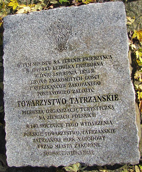 Tablica upamiętniająca utworzenie Towarzystwa Tatrzańskiego.