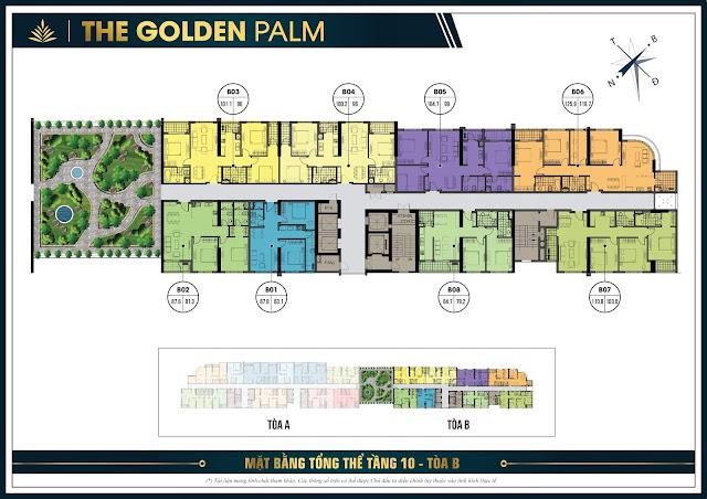 Mặt bằng thiết kế tầng 10 tòa B - The Golden Palm