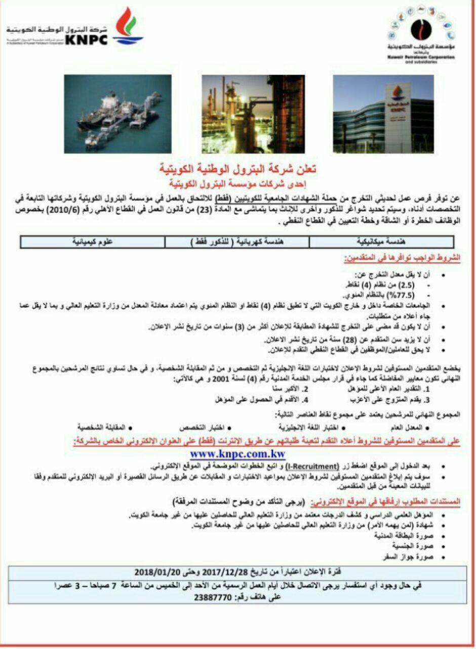وظائف للخريجين الكويتيين