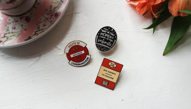 Typewriter Teeth Bookish Pin Collection. Three pins including a book, a quote and a dystopian pin