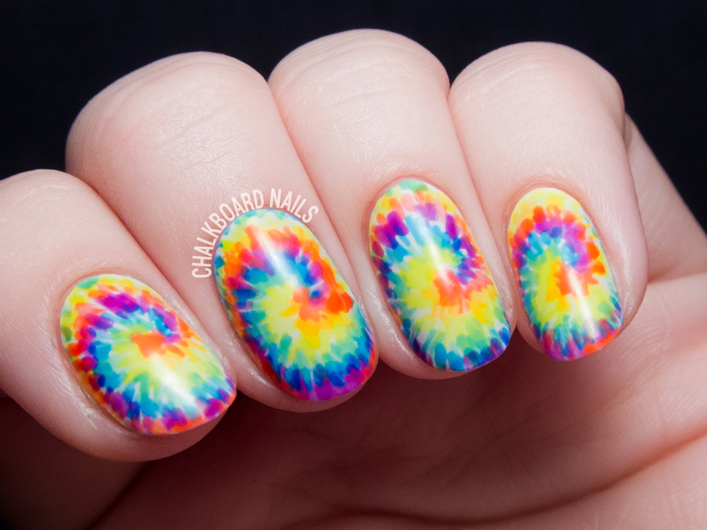 Tie dye nail art tutorial by @chalkboardnails