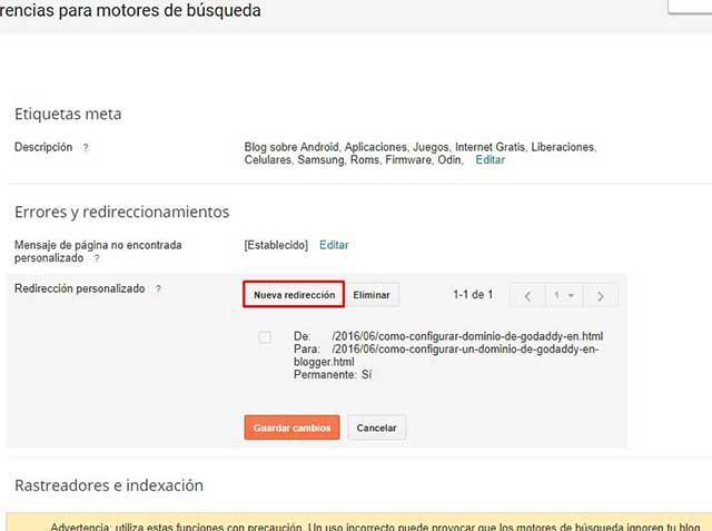 redirección de entradas en blogger
