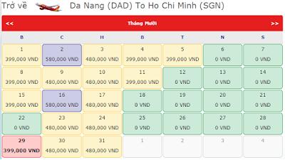 Vé khuyến mãi 0 đồng của Vietjet Air tháng 9, 10, 11  từ đà nẵng đến hcm