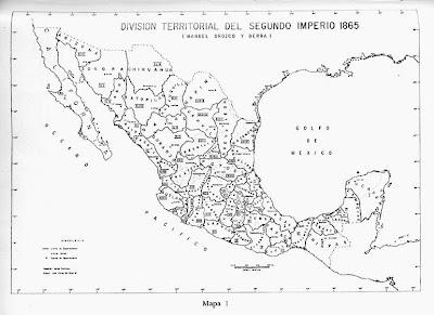 Mapa De La República Mexicana Con División Política 1865 Mapa De