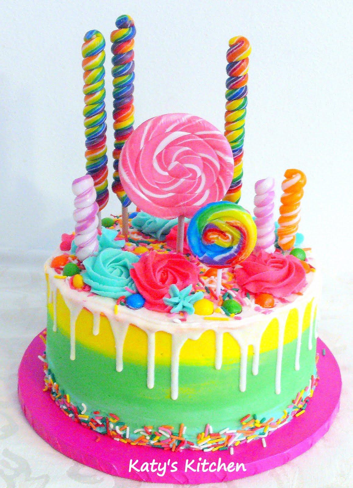 Remarkable Katys Kitchen Lollipop Candy Drip Cake Birthday Cards Printable Inklcafe Filternl