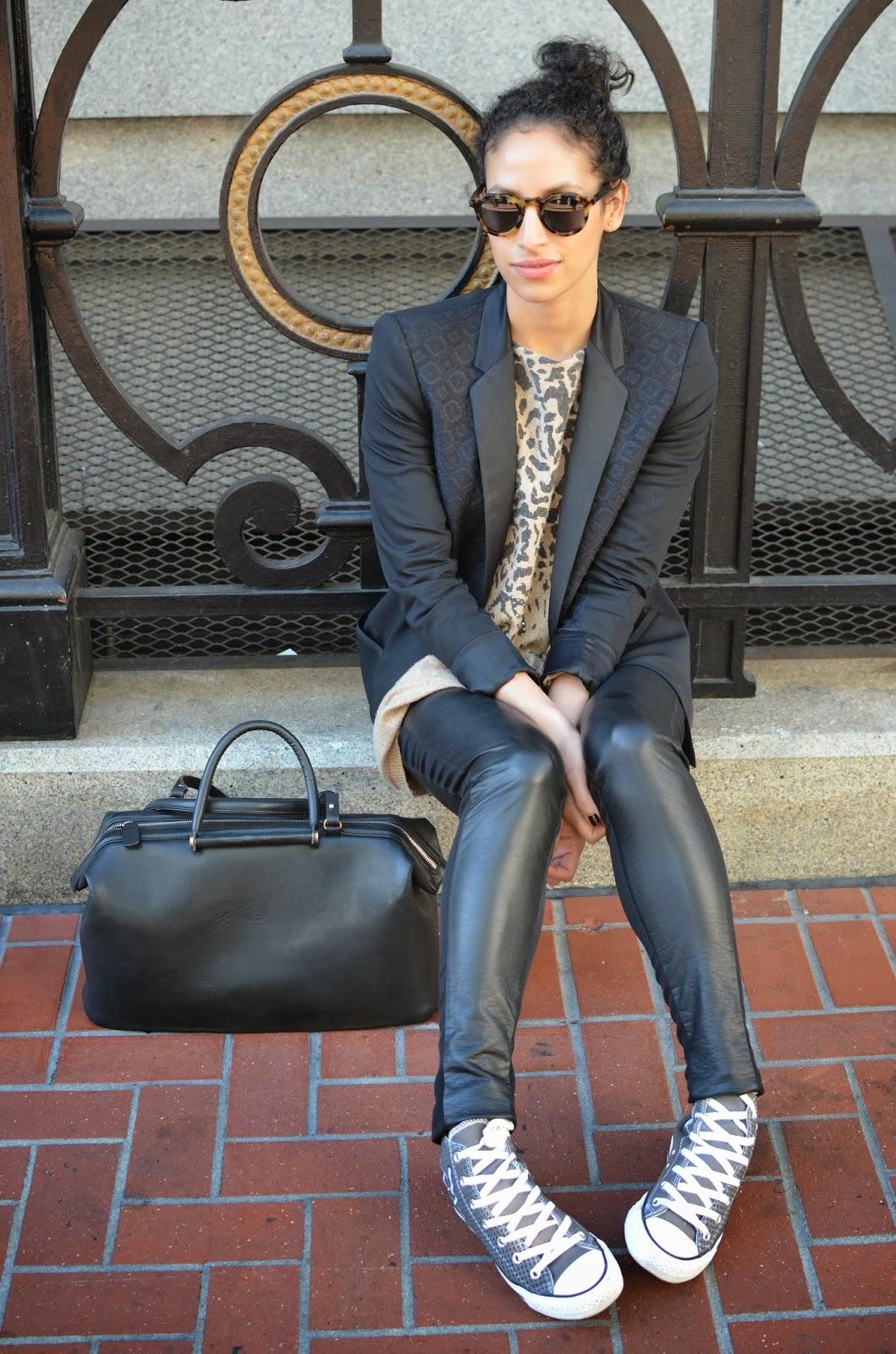 b2e497e21c7901 {Zara blazer (need this Wang one!), ShopSeptember sweater c/o, H&M leather  pants, custom Converse c/o, handbag from Prague, Bare Minerals lipstick:  Break ...