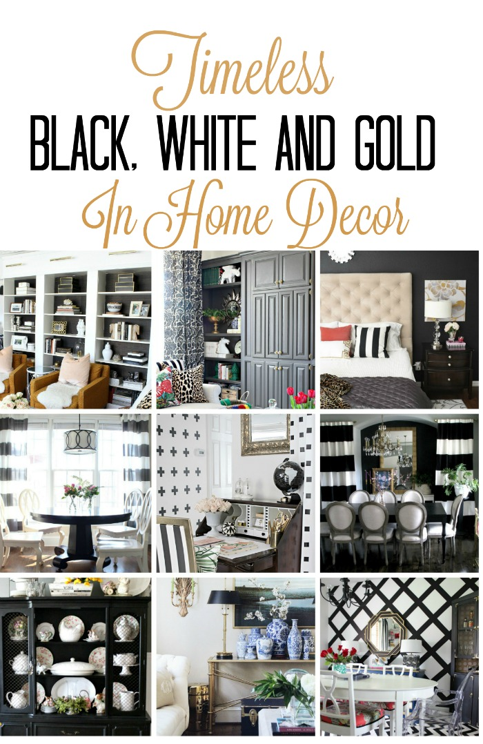 a collection of beautiful room decorated in Black, white and gold