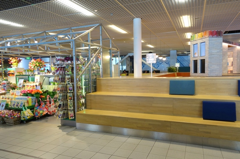schiphol airport staircase seats tulip shop