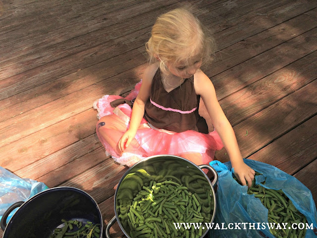 Snipping Green Beans with Mom