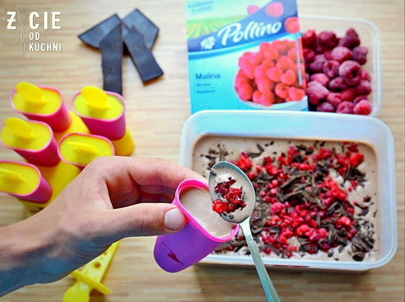 lody czekoladowe, lody na patyku, maliny poltino, poltino, mrozonki poltino, zycie od kuchni