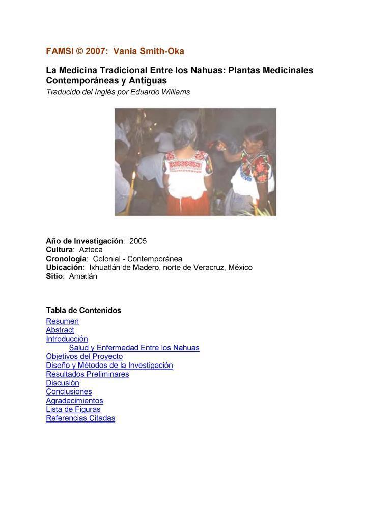 La medicina tradicional entre los Nahuas: Plantas medicinales contemporáneas y antiguas