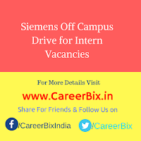 Siemens Off Campus Drive for Intern Vacancies