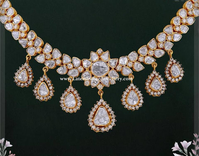 White Polki Necklace in Gold