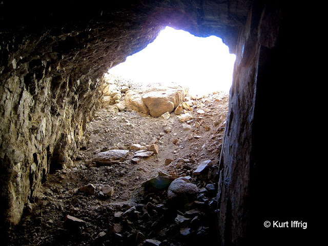 A view from inside the mine. From here ore was dragged down the hill to the arrastra.