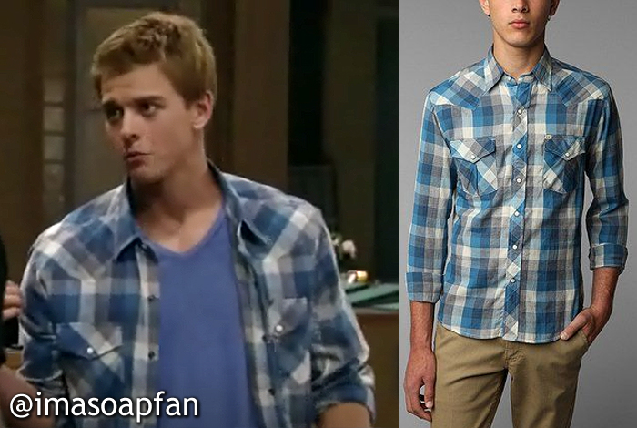 Michael Corinthos, Chad Duell, Blue Plaid Western Shirt, Salt Valley, Urban Outfitters, General Hospital, GH
